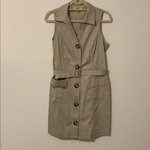 Michael Kors tan sleeveless dress with belt.